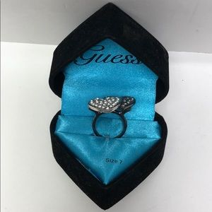 Guess Womens Ring Heart Two Tone silver 7 New